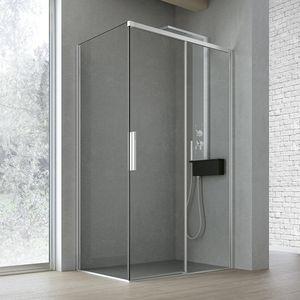Time con porta scorrevole + fisso, Box doccia, con porta scorrevole in cristallo, per spa