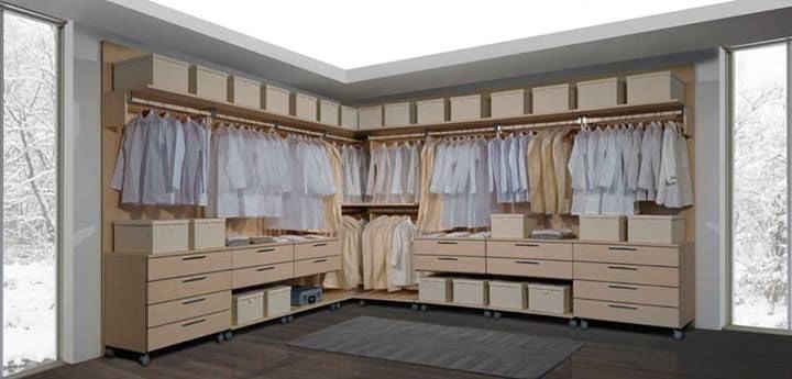 Comoda cabina armadio modulare con cassettiere su ruote - Cassettiera per cabina armadio ...