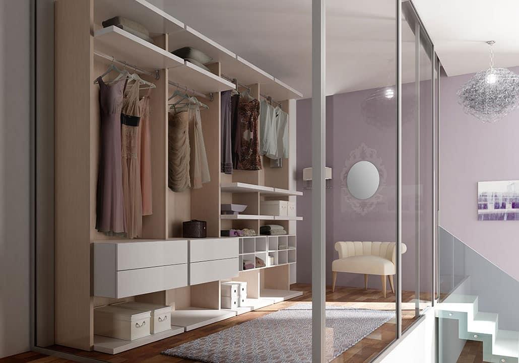 Cabina armadio con mensole ed elementi ad alveare idfdesign - Soluzioni per cabina armadio ...