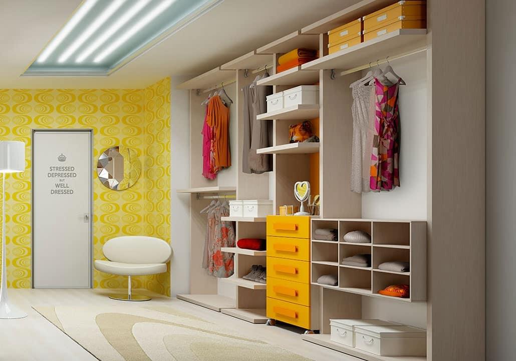 Cabina armadio con cassettiera con 5 cassetti idfdesign - Cassettiera per cabina armadio ...