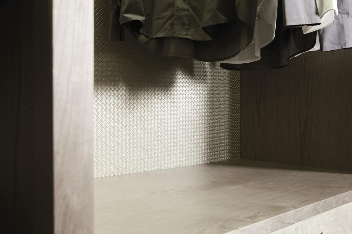 ATLANTE cabina armadio comp.11, Cabina armadio in frassino tinto con dettagli in nabuk