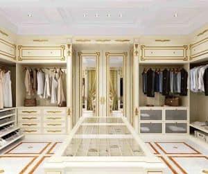 Cabina Armadio, Cabina armadio classica di lusso con finitura in foglia oro