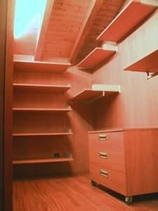 Cabina armadio per mansarda 01, Cabina armadio totalmente personalizzabile