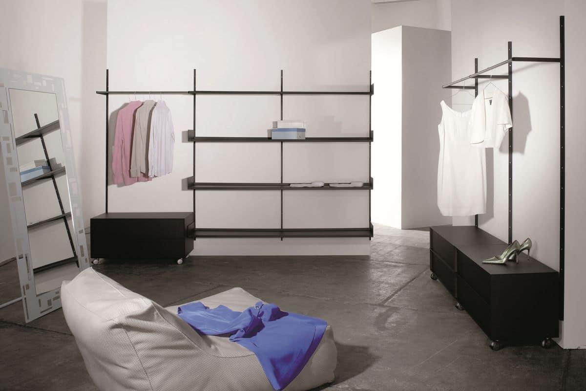 Elle System Wardrobe, Arredamento modulare per cabine armadio, con elementi personalizzabili