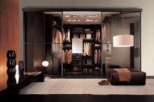 Free - Cabina armadio wengè, Design cabina armadio su misura, con finitura wengè
