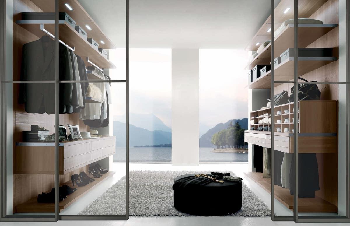 Cabina armadio con ripiani spostabili e cassettiera - Cassettiera per cabina armadio ...