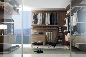 Nicchia - Cabina armadio nobilitato noce canaletto, Cabina armadio con ripiani spostabili e cassettiera
