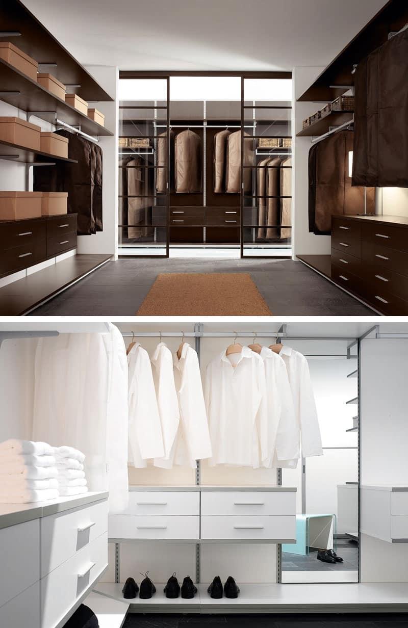 PARIES, Cabina armadio con mensole, cassettiere, lampade e appendiabiti