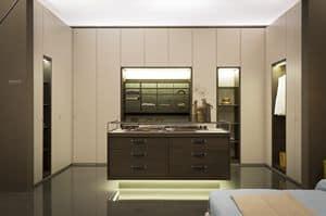 VENICE comp.01, Cabina armadio elegante, finiture dorate e in legno di aucalipto