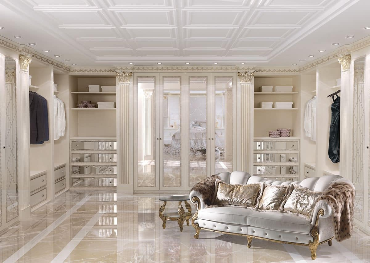 cabina armadio personalizzabile in stile classico di lusso idfdesign. Black Bedroom Furniture Sets. Home Design Ideas