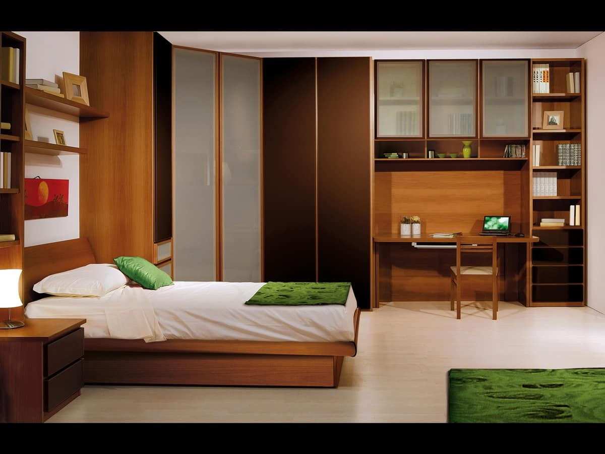 Camere singole moderne for Camera da letto e studio