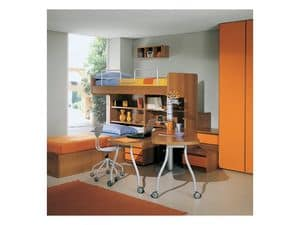 Cameretta 1, Cameretta con letto a castello, libreria e cassettiere, armadio guardaroba