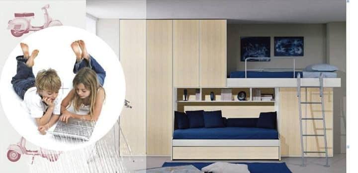 Cameretta con secondo letto estraibile, armadio a ponte, color ...