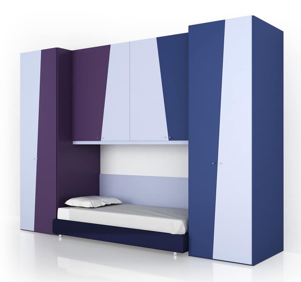 Cameretta comp.1, Cameretta modulare per ragazzi, in stile moderno