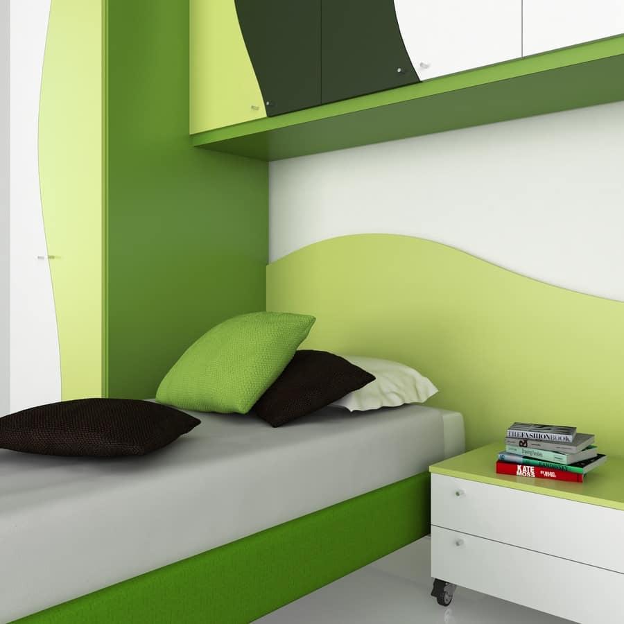 Camera per bambini con armadi e comodino vari colori - Cameretta bambini 2 letti ...