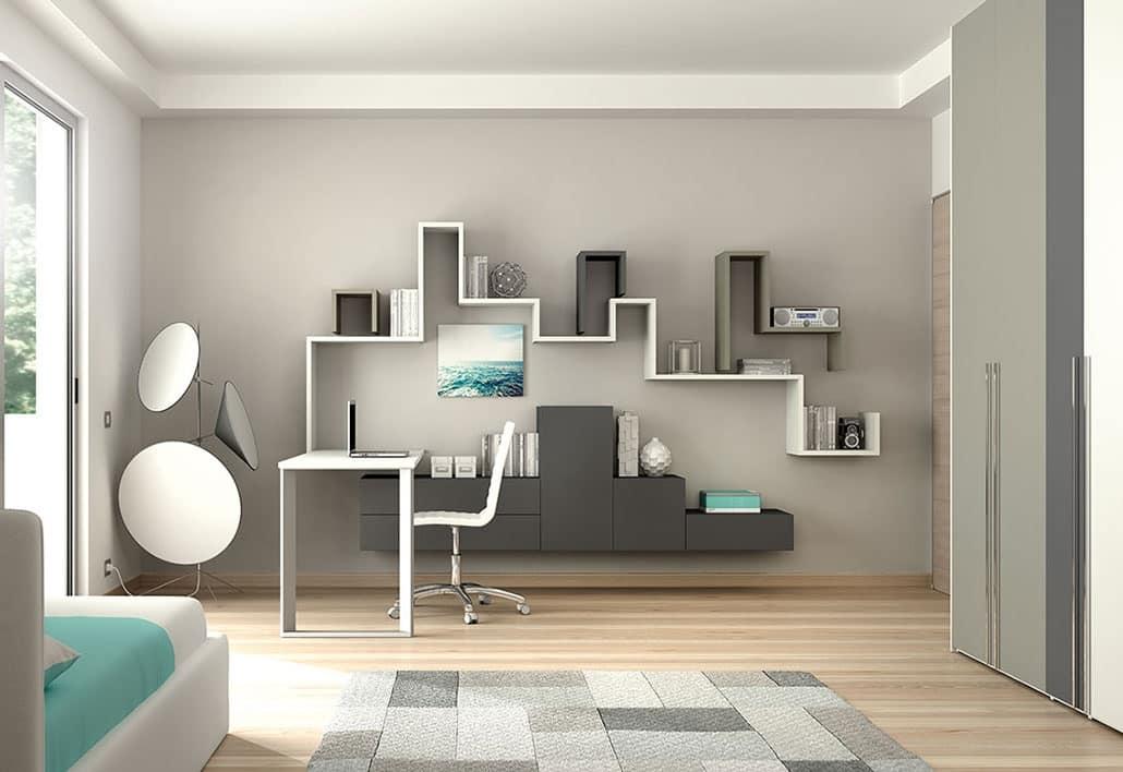 Cameretta funzionale con mobili pensili customizzabile for Immagini camerette ikea