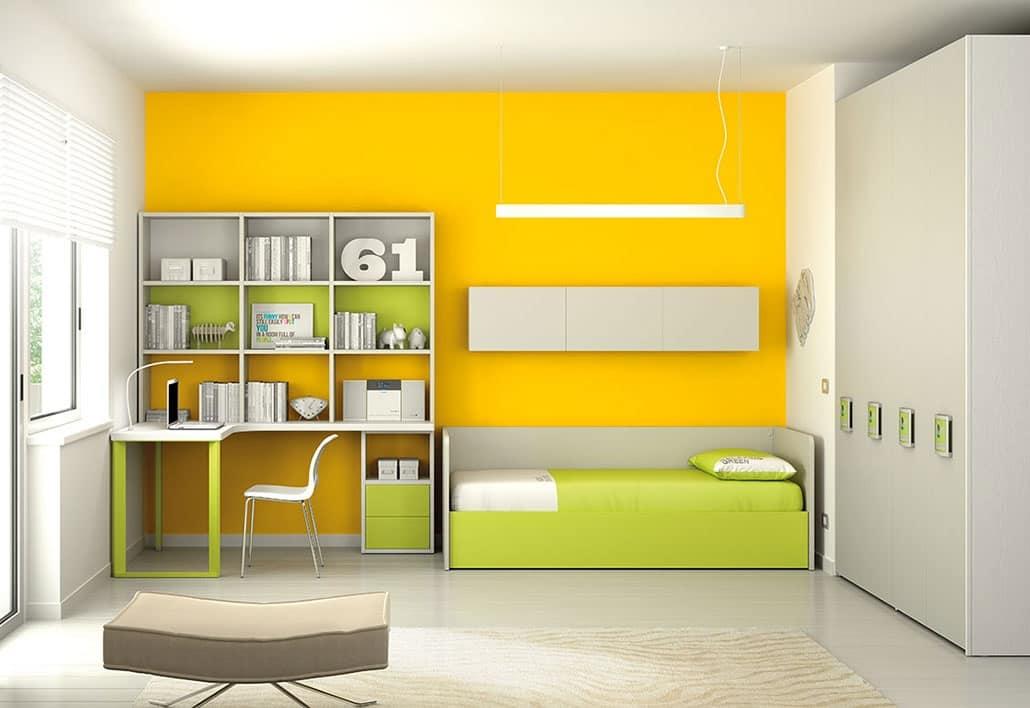 Cameretta componibile con mensole scrivania e armadio idfdesign - Cameretta con scrivania ...