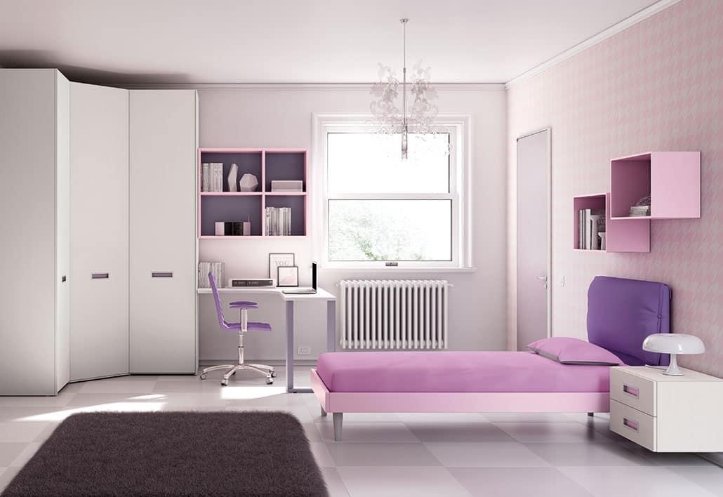 cameretta con mobili pensili e armadio ad angolo | idfdesign