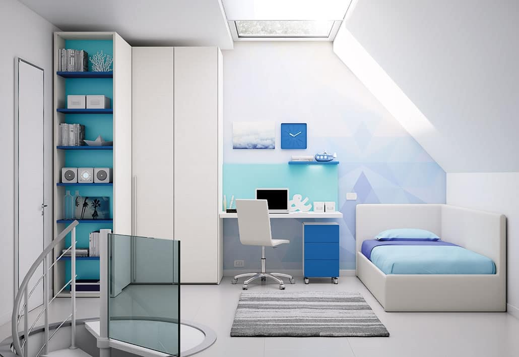 Cameretta con zona studio e armadio con mensole idfdesign for Armadio studio