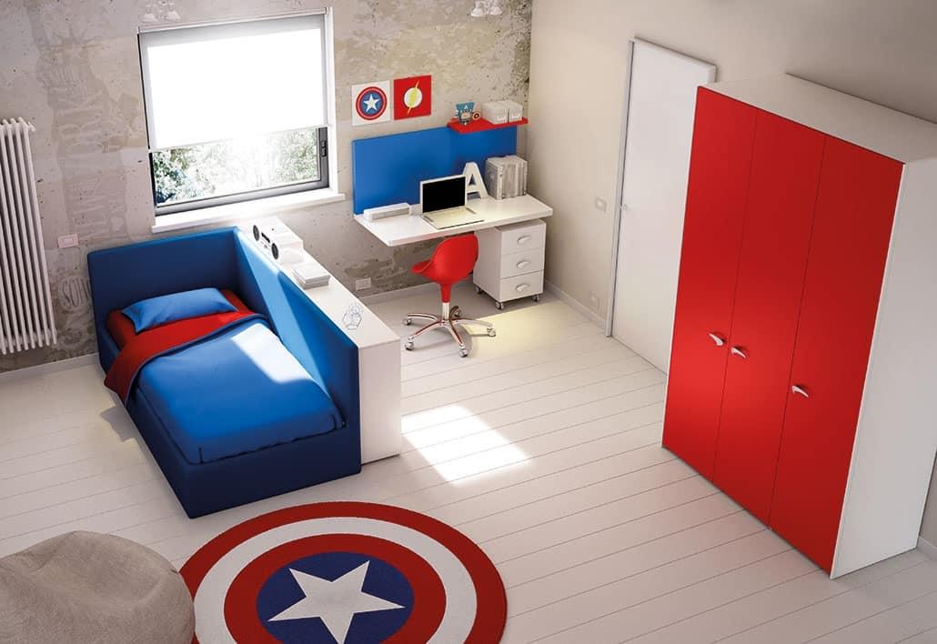 Cameretta con divano letto e scrivania idfdesign - Divano letto per cameretta ...