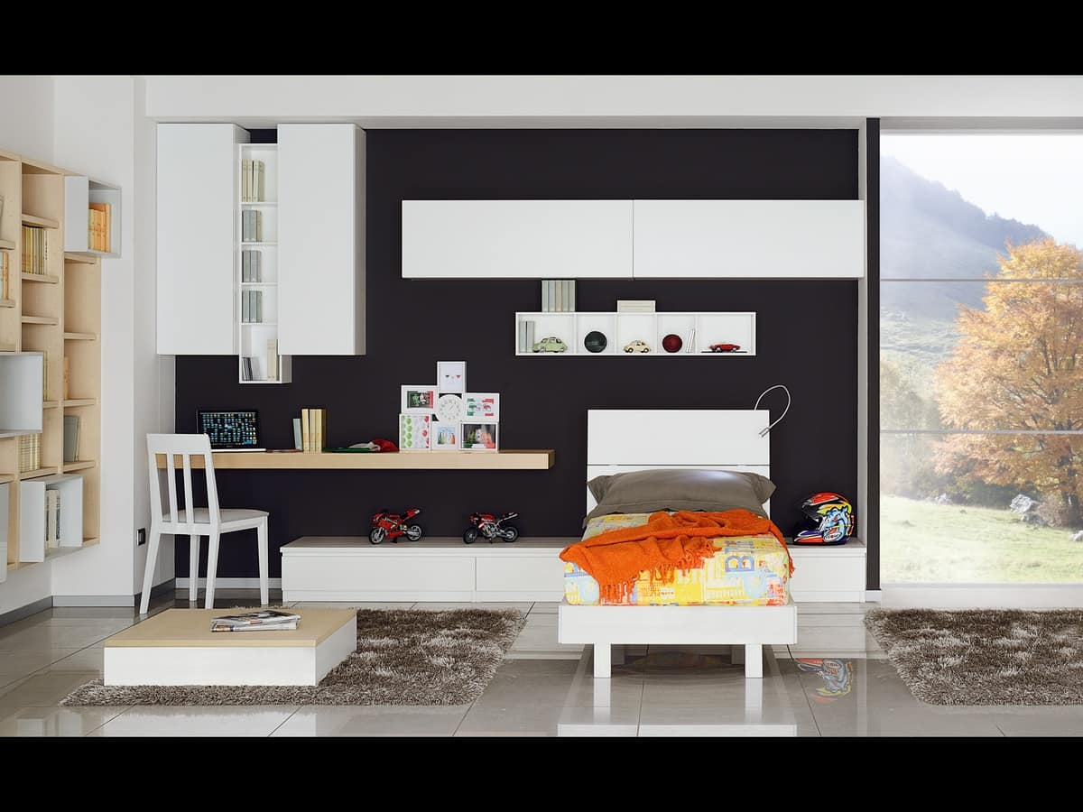 Camera per ragazzi stile moderno e dinamico idfdesign - Camere da letto per ragazzi moderne ...
