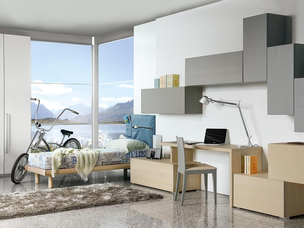 Camera per ragazzi con scrivania in stile moderno idfdesign - Camera da letto bambino ...