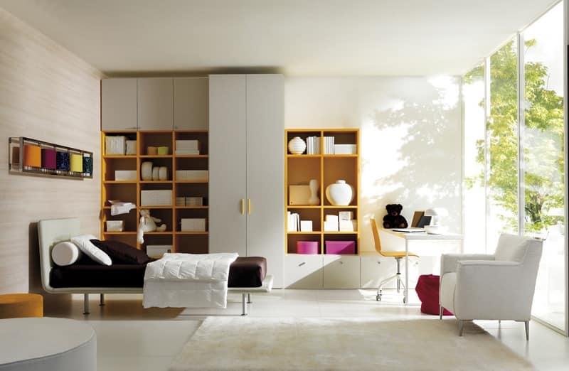 Comp. 104, Letti per ragazzi, stanza riconfigurabile, in stile moderno