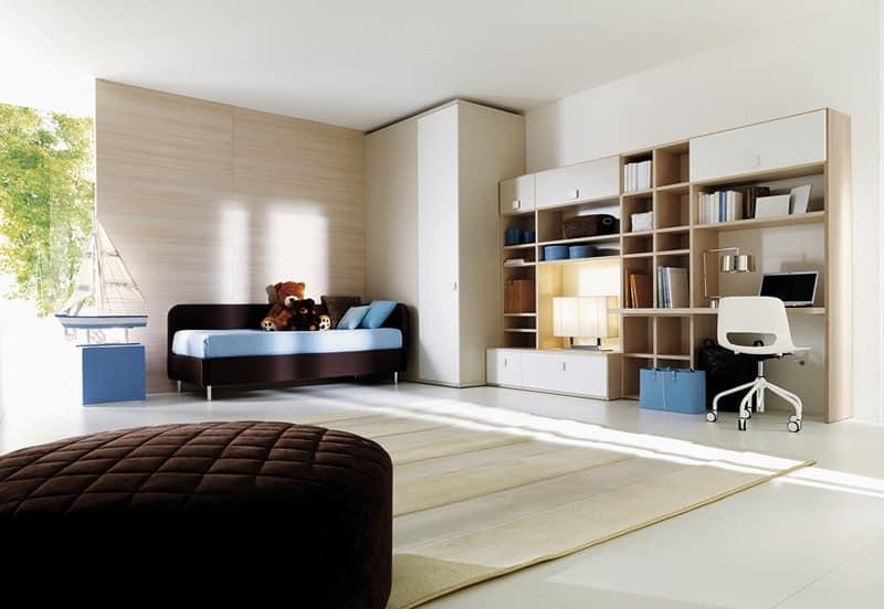 Camera bambini con cabina armadio e mobili pensili idfdesign - Mobili per bambini design ...