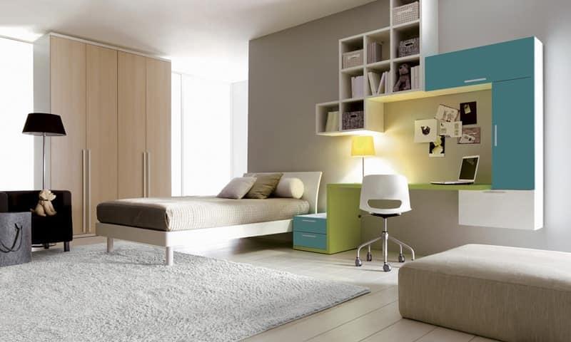 mobili componibili per cameretta : Arredo cameretta con letto e parete attrezzata IDFdesign