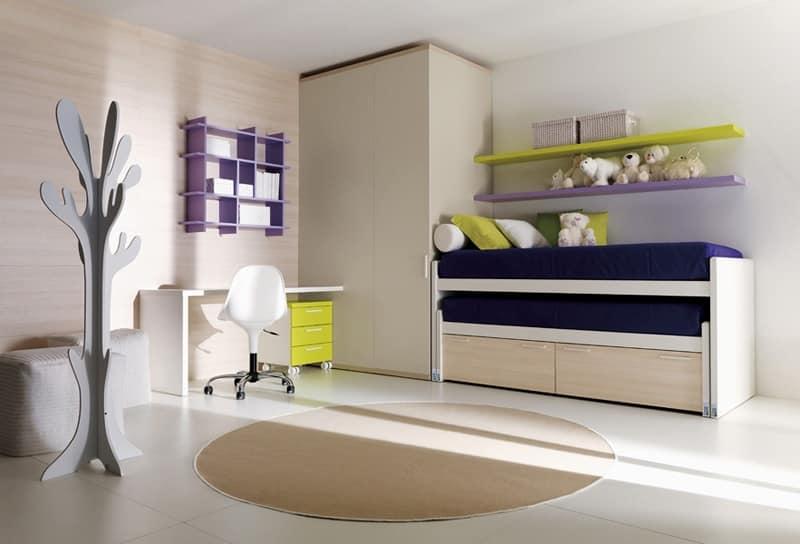 Letto per ragazzi conformazione angolare idfdesign for Camere da letto per ragazze ikea