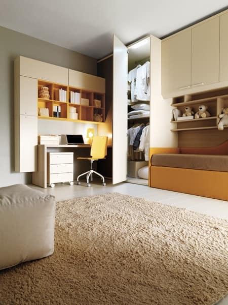 Cameretta per bambini letto cabina armadio scrivania idfdesign - Cabina armadio per cameretta ...