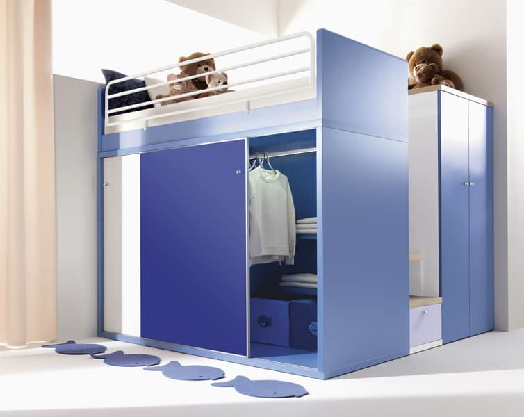 Sistemi componibili per ragazzi varie colorazioni idfdesign for Arredamento camerette piccoli spazi