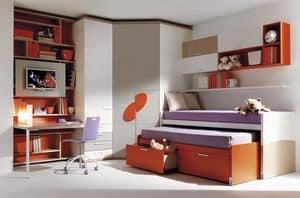Comp. 955, Letto per ragazzi, cabina armadio, scrivania, mobili pensili