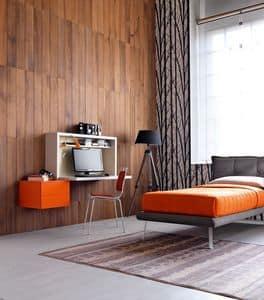 Comp. New 137, Compatta camera singola, con scrittoio con piano ribaltabile, letto imbottito