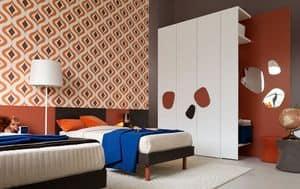 Comp. New 140, Arredamento completo per cameretta per ragazzi, con doppio letto, guardaroba e scrittoio