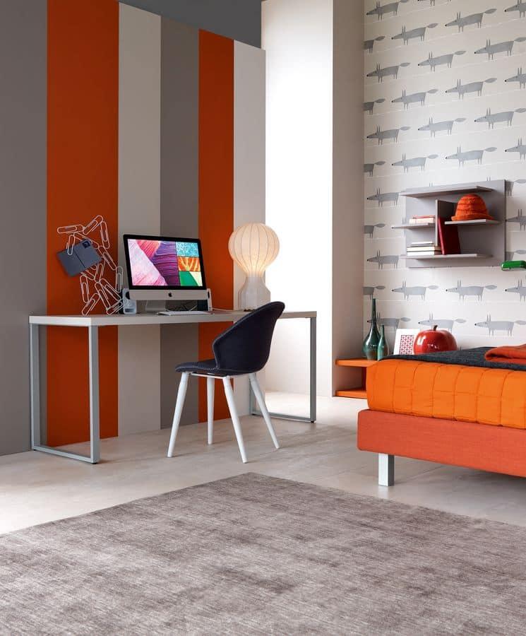 Comp. New 144, Cameretta con due letti imbottiti, scrivania e libreria a muro