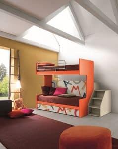 Comp. New 161, Letto a castello con tre letti, meccanismo ribaltabile, ideale per camerette di piccole dimensioni