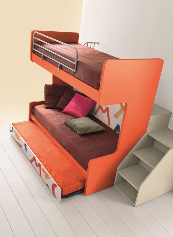 Letto a castello con tre letti, meccanismo ribaltabile, ideale per ...