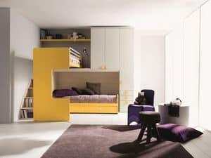 Comp. New 407, Cameretta elegante e funzionale, con doppio letto, soppalco angolare