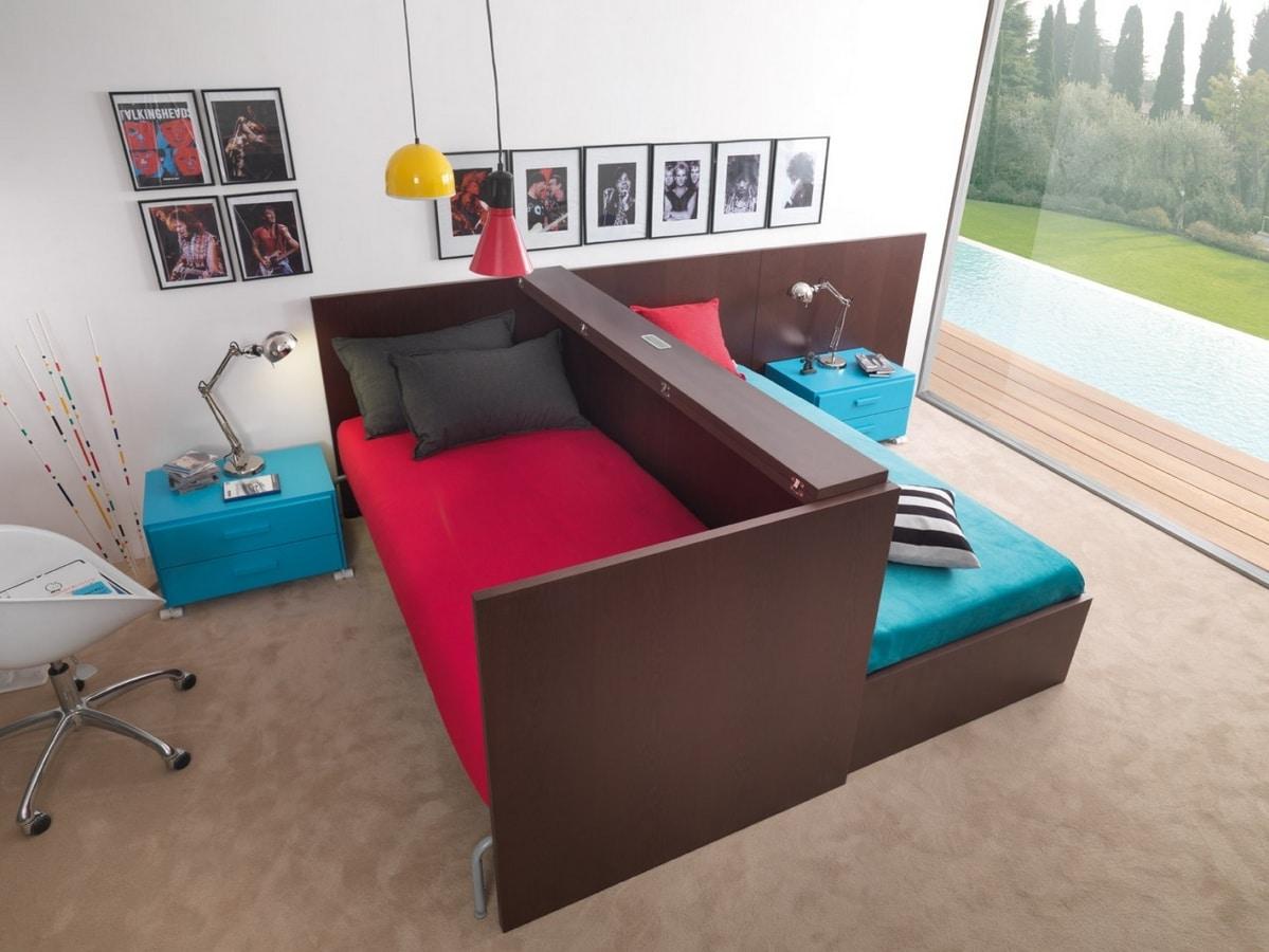 Cameretta salvaspazio con scrivania trasformabile in for Dearkids letti prezzi