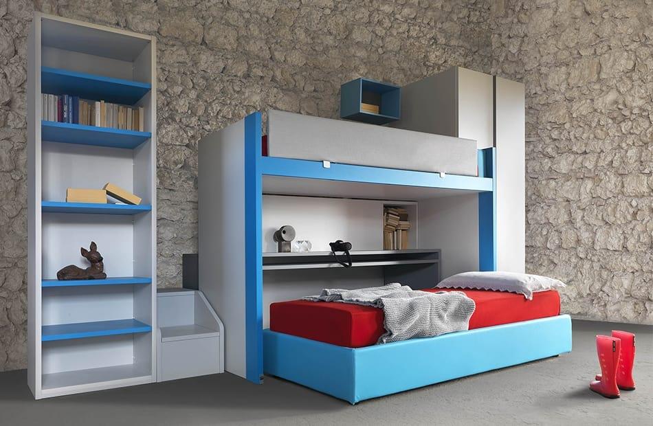 Arredo camera con letto a castello e scrittoio scorrevoli | IDFdesign