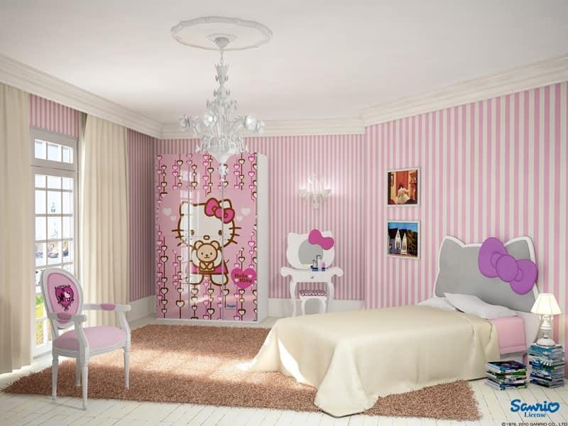 cameretta rosa, cameretta Hello Kitty, cameretta bambina Camera da ...
