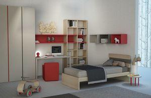 Natural comp.01, Cameretta con parete libreria e armadio