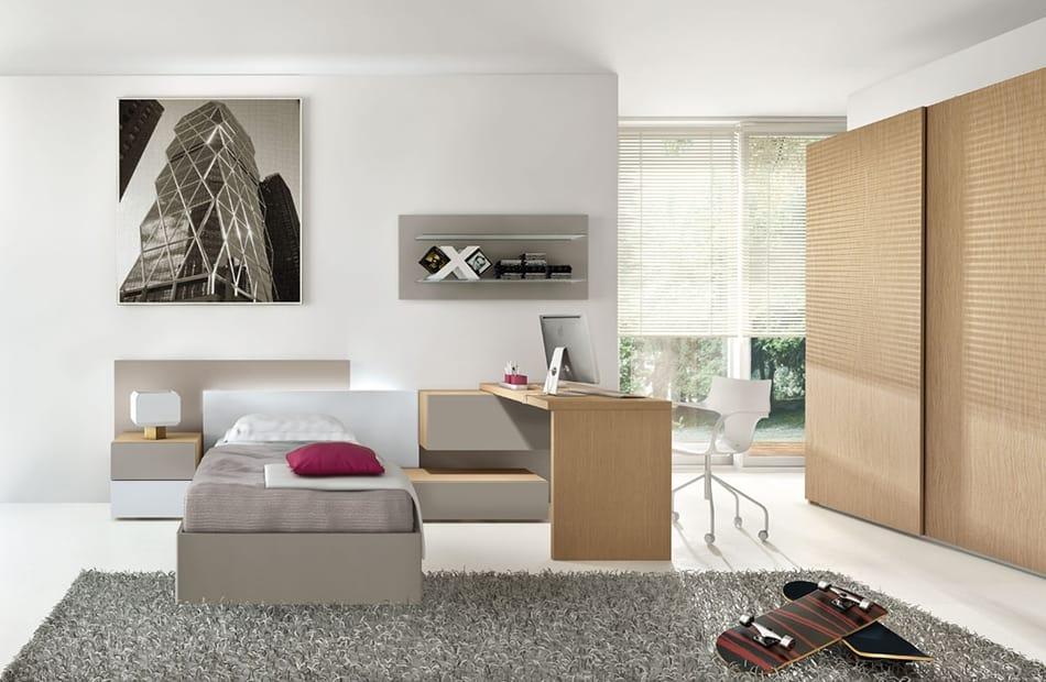 Cameretta moderna con scrivania collegata al comodino for Camerette design