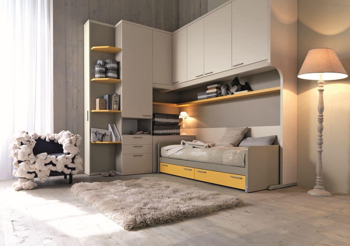 Camera moderna per ragazzi con porte salvaspazio idfdesign - Camere ragazzi design ...