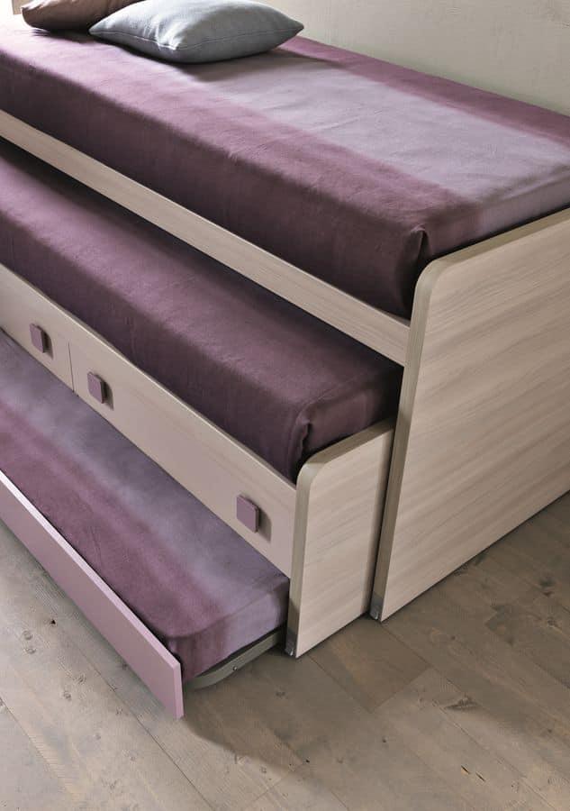 Comp. New 153, Cameretta per ragazze con letti scorrevoli con cassetti