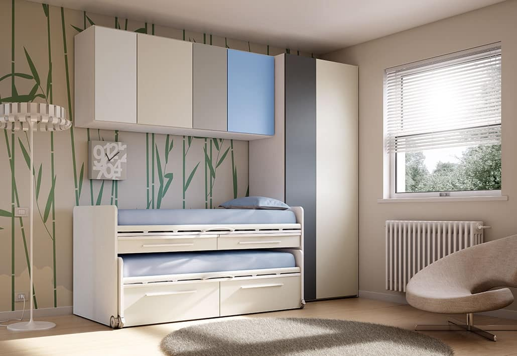 Camera per bimbi con letto estraibile in varie finiture for Arredo cameretta bimbo
