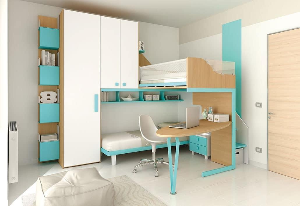 Soppalco con spazi ottimizzati per piccoli appartamenti idfdesign - Camerette piccoli spazi ...