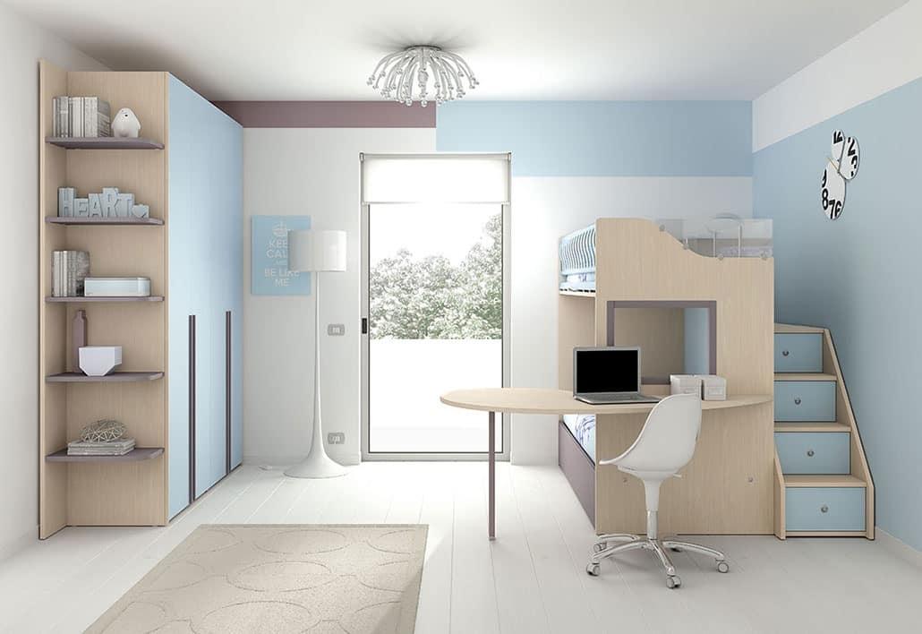 Soppalco con 3 letti dotato di scrivania e finestra - Camera da letto a soppalco ...