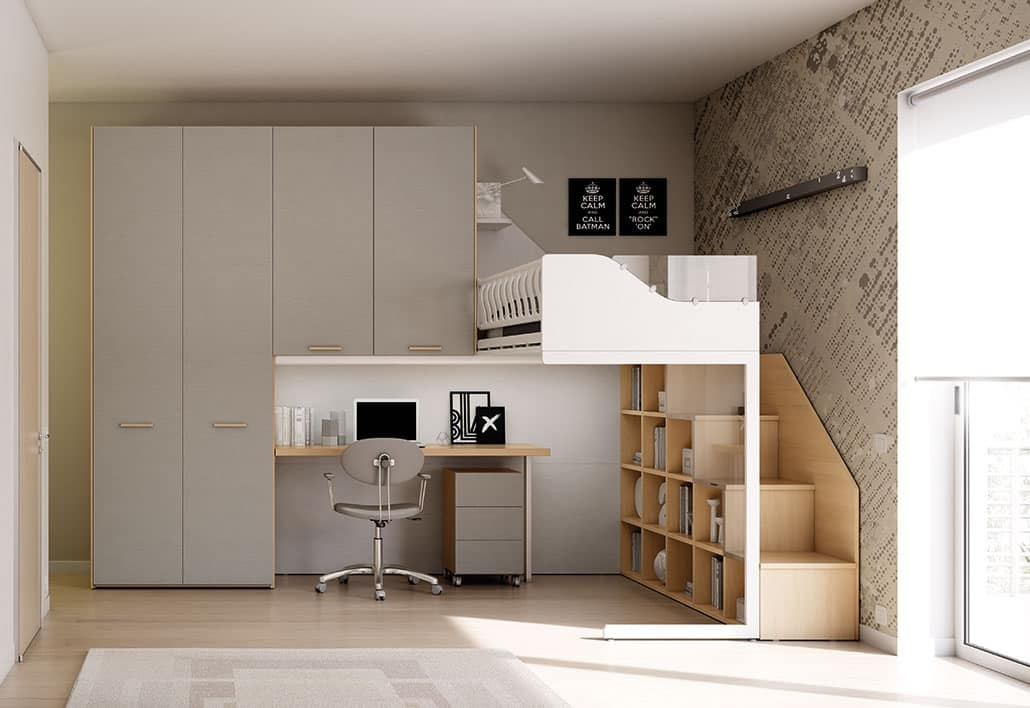 Cameretta con soppalco in stile minimalista idfdesign - Camera con soppalco ...